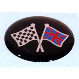 Badge autocollant 42 mm - UNION jack & Damiers