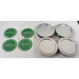 Jeu de 4 centres de roue chrome badge MINI vert