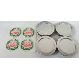 Jeu de 4 centres de roue chrome badge MINI COOPER lauriers