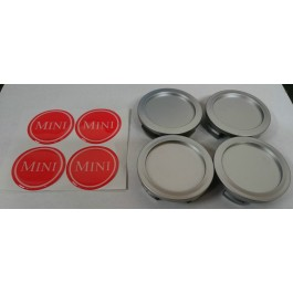 Jeu de 4 centres de roue chrome badge MINI rouge