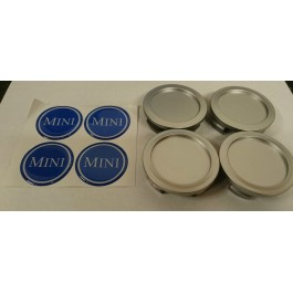 Jeu de 4 centres de roue chrome badge MINI bleu