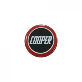 MSA2007-Badge autocollant 27 mm - COOPER fond noir bordé rouge
